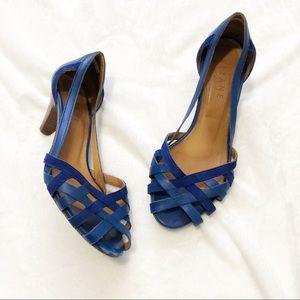 Sezane blue strappy kitten heels size 37 7
